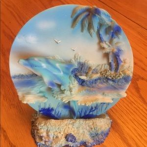 """Dolphin Plate with matching stand 7""""t 4 -/2"""" base"""